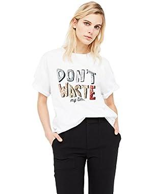 Mango Women's Sequined Cotton T-Shirt