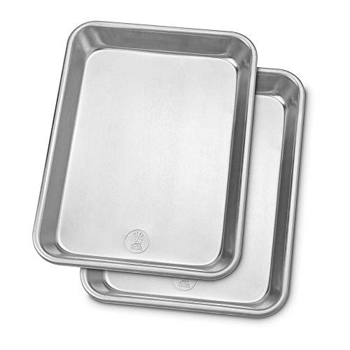 Professional Quarter Sheet Baking Pans – Aluminum Cookie Sheet Set of 2 – Rimmed Baking Sheets for Baking and Roasting…