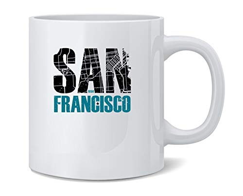 San Francisco California Retro Map Travel Coffee Mug Tea Cup 12 oz ()