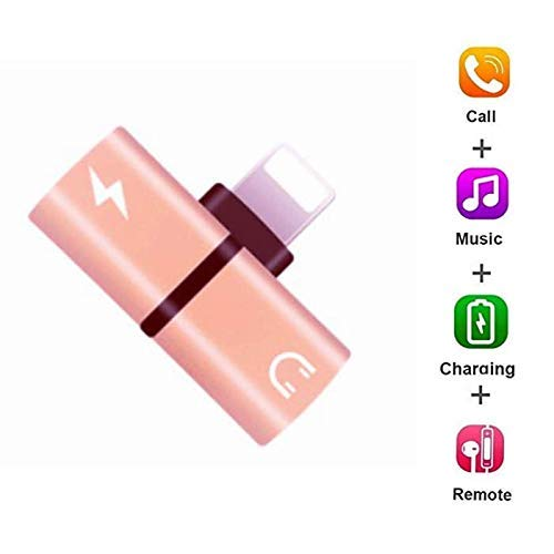 (4 in 1 Adapter for Apple iPhone Dongle Xs/Xs Max/XR/8/8 Plus/7/7 Plus Headphone Splitter Audio Earphone AUX Charger Compatible for[Music+Charging+Call+Wire Control] Connector Support iOS 12 or Later)