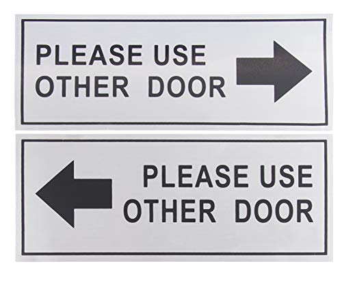 Please Use Other Door Signs - 2-Pack Metal Please Use Other Door Signs, Aluminum Self-Adhesive Wall Plates, Ideal for Office, Retail Stores, Schools, Indoors and Outdoors, 4.7 x 11 Inches