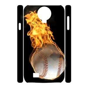 wugdiy Custom 3D Case for SamSung Galaxy S4 I9500 with Personalized Design fire baseball