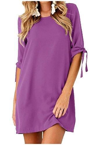 Delle Mini Donne Colore Cinghie Mid Manica Girocollo Vestito Coolred Viola Puro xYqBwOtw