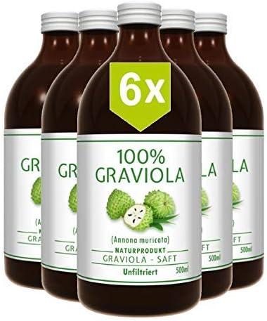 6 x 100% ZUMO DE GUANÁBANA - sin filtrar y vegano (6 x 500 ml), hecho de puré de graviola al 100%. Compra ventaja. Graviola. Soursop. Corossol. ...