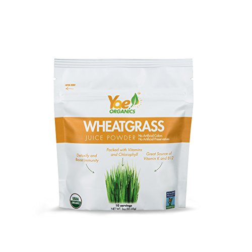 Cheap Yae! Organics 3oz/10 Servings Organic Wheatgrass Juice Powder, 100% Dried Chlorophyll Superfood Grown in USA, for Detoxification and Vitality