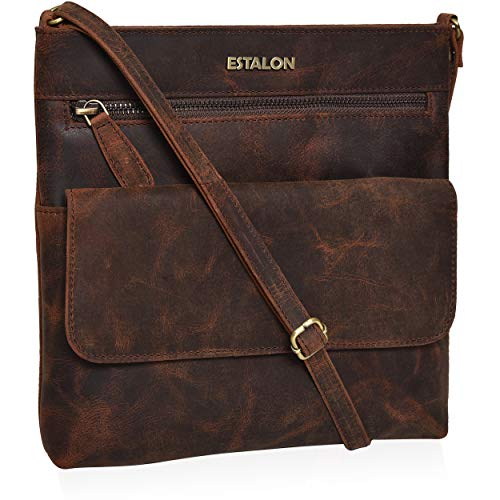 Crossbody Bags for Women - Genuine Leather Small Vintage Brown Shoulder Bag