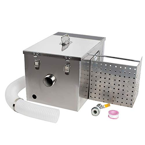 Funwill Commercial Grease Trap, Stainless Steel Grease Trap Interceptor Set with Removable Baffles for Restaurant Kitchen Wastewater - Shipping from USA