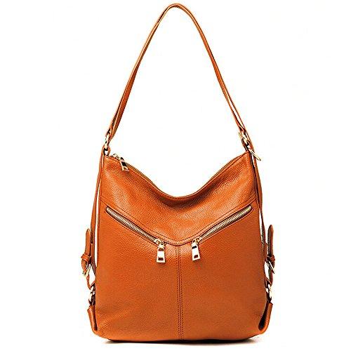 Bag Backpack Handbag Daypack Convertible Shoulder SEALINF Womens Leather Zipper Brown Reddish f0wFXgq