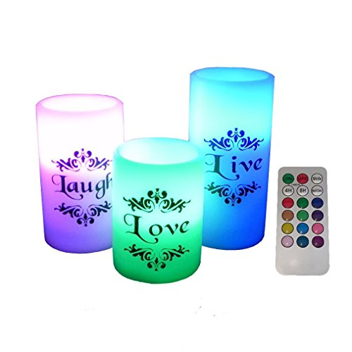 EGI - Set of 3 Flickering Flameless Candles With Multi Co...