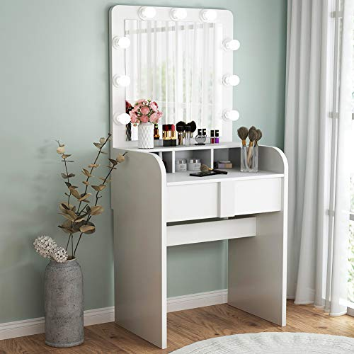 TribesignsVanity Table Setwith Lighted Mirror,Makeup Vanity Dressing Tablewith 9 Cool Light Bulb, ModernDressing Table Dresser Deskwith Drawers for Bedroom,(White) (White Dressing Table With Drawers And Mirror)