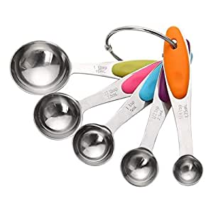 Geekol Set of 5 Stainless Steel Measuring Spoons Baking Spoons with Ergonomical Silicon Anti-Slip Handle for Dry or Liquid Ingredients Kitchen and Baking