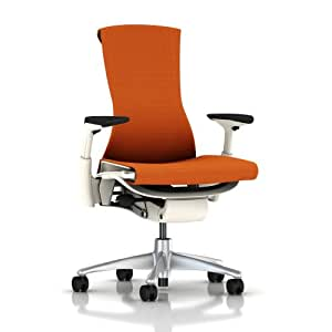 Embody Chair by Herman Miller - Home Office Desk Task Chair with Adjustable Arms – White Frame Titanium Base Upgraded Mango Balance Fabric