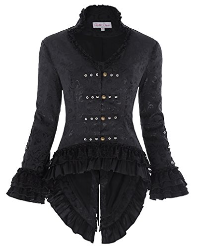 Steampunk Victorian Coat Fancy Dress Jacket for Women Silver Studs Black Size M