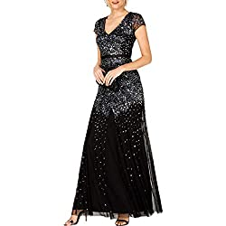 Black Plus-Size Short Sleeve V Neck Beaded Gown