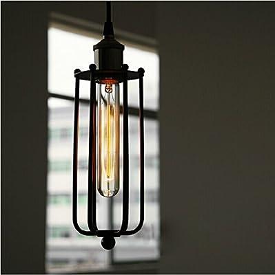 Perfectshow Minimalist 1-light Industrial Edison Wrought Iron Hanging Light Black Loft Long Cage Country Rustic Pendant Light