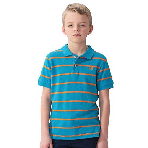 Leo&Lily Big Boys' Kids' Cotton Dressing Striped Polo Shirts T-Shirts (Blue Orange Strip, ()