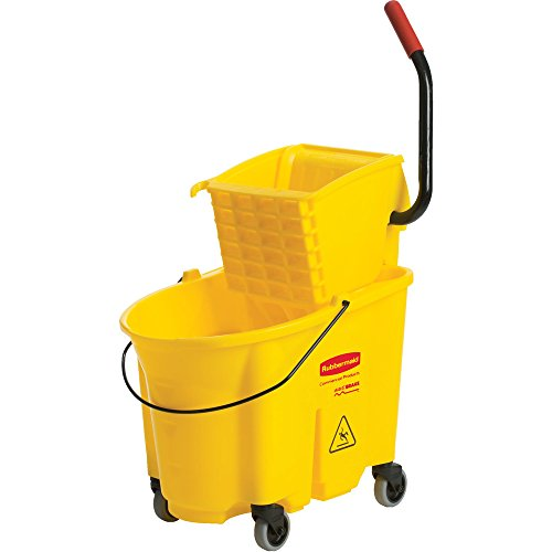Rubbermaid Commercial WaveBrake Mopping System Bucket and Side-Press Wringer Combo, 35-quart, Yellow (Wavebrake Combo)