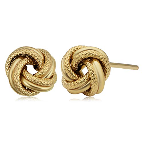 Kooljewelry 10k Yellow Gold Textured Love Knot Stud Earrings