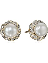 10k Yellow Gold Twist-Frame Freshwater Cultured Pearl Earrings With Diamonds Accent Stud Earrings
