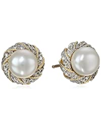 Twist-Frame Freshwater Cultured Pearl Earrings With Diamonds
