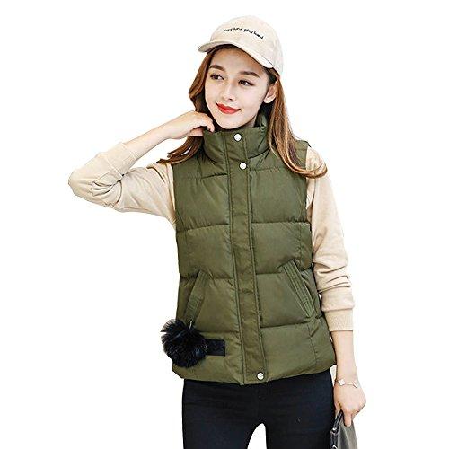 Maniche Piumino Donne Palla Di Senza Gilet Pelo Antivento Ragazze Zippercoat Outwear Inverno E Verde Autunno Bozevon SafwCq