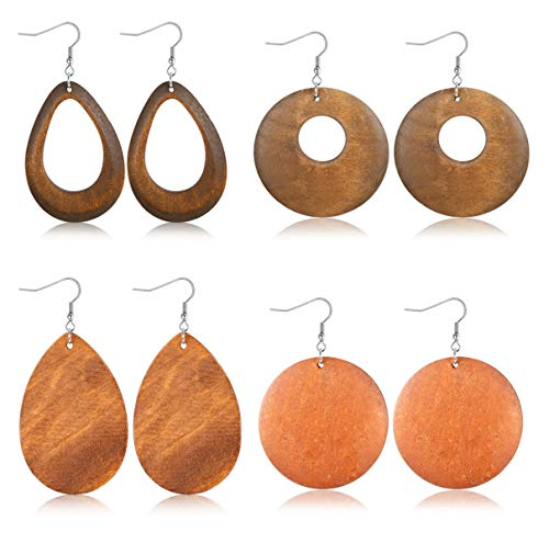JOERICA 4 Pairs Statement Dangle Earrings for Women Girls Ethnic Wood Drop Earrings Stainless Steel Stud