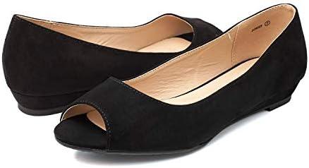 DREAM PAIRS Women's Dories Black Suede Low Wedge Peep Toe