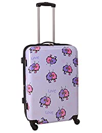 Ed Heck Multi Love Birds Hard Side Spinner Luggage 25-Inch, Light Purple, One Size