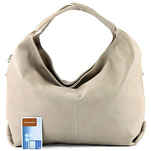 modamoda de - ital. Ledertasche Damenhandtasche Schultertasche Damentasche Nappaleder DS26 Helltaupe