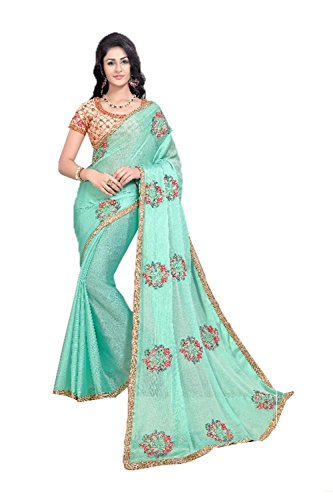 Partywear Traditional Sarees Ethnic Da Facioun Sari Women for Green Indian Cyan AZwXaZ