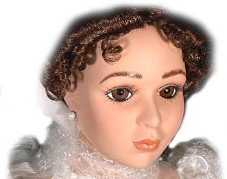 Musical Porcelain - Princess Bride, Lady in Red Fine Musical Doll Bisque Porcelain with Swiss Musical Movement