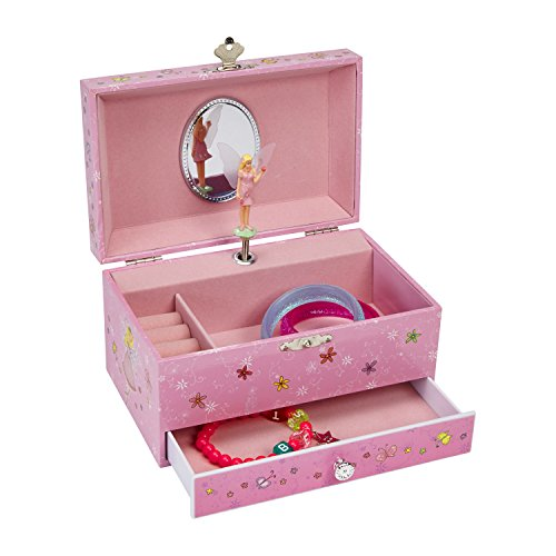 - JewelKeeper Fairy with Heart Balloons Musical Jewelry Box for Girls with Pullout Drawer, Pink Jewel Storage Organizer Box, Pink Design, Beautiful Dreamer Tune