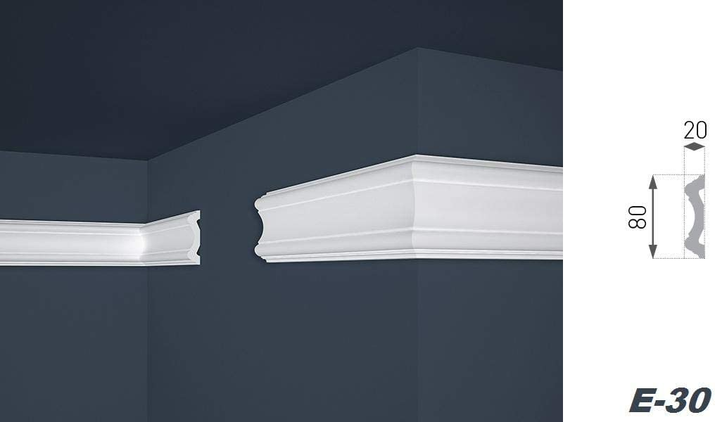 leichte und stabile Profile f/ür Decken-// und Wand/übergang modern wei/ß dekorativ XPS riesige Auswahl Stuckleisten aus Styropor 2 Meter 80 x 80 mm E-34