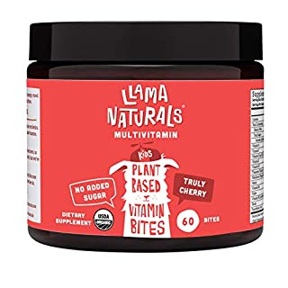 Llama Naturals Plant Based Vitamin Bites (Kids); Organic; No Added Sugar, Sweeteners or Synthetics; Vegan Multivitamin Gummies (D3, B12, Folate & More); 60 Real Fruit Bites (30 Days) (Cherry)