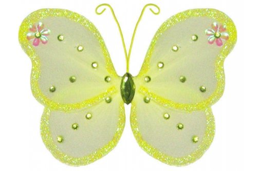 The Butterfly Grove Adelaide Butterfly Decoration 3D Hanging Mesh Nylon Decor, Yellow Daffodil, Small, 5
