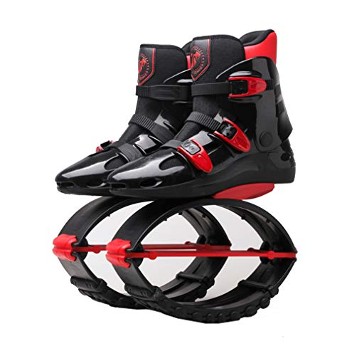 - LRfashion Unisex Bounce Boots Jumping Shoes Rebound Shoes Power Shoes Anti-Gravity Boots Gym Fitness Boots Running Shoes Lose Weight Shoes for 99-176 Lbs, Black Red,L=UK5.5(50~70kg)