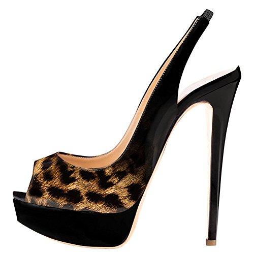 EKS - Zapatos de Tacón Mujer Schwarz-Leopard