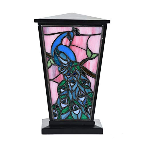 Stained Glass Memorial Urn for Adults - Large - Holds Up to 200 Cubic Inches of Ashes - Peacock Blue Cremation Urn for Ashes - Engraving Sold Separately ()
