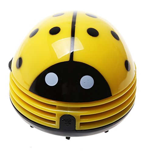 A-SZCXTOP Electric Table Vacuum Cleaner Mini Dust Cleaner Yellow Ladybird Can be Used for Car Cushion Interior or Surface