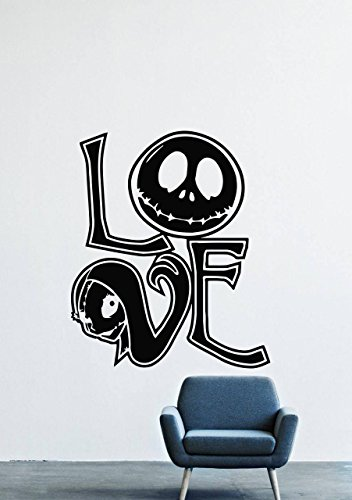 Jack Skellington Sally The Nightmare Before Christmas Halloween Town Skeleton Wall Decals Decor Vinyl Stickers GMO1849 -