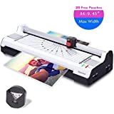 "Ejoyous Hot and Cold Laminator Machine for A4/A6 with 20 Pouches, Trimmer and Corner Rounder, Thermal Laminator Support 9.45"" Max Width, 4 Mins Warm Up, 3 Cut Ways, Jam Free for Home Office School"