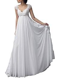 Cap Sleeves vestidos de novia Chiffon Lace Beach Bridal Wedding Dresses M03