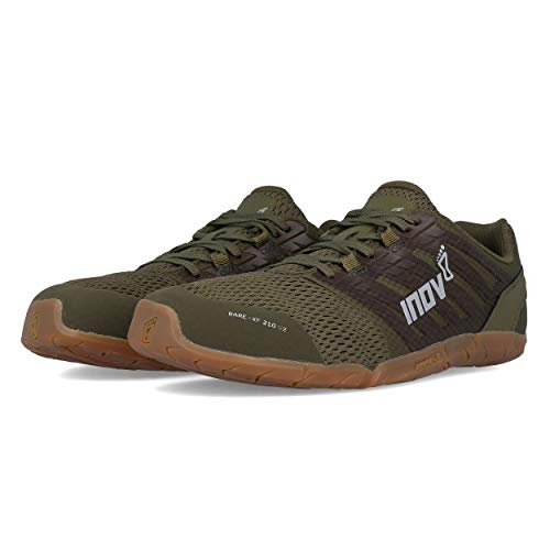 Inov-8 Mens Bare-XF 210 V2 - Barefoot Minimalist Cross Training Shoes - Zero Drop - Wide Toe Box - Versatile Shoe for Powerlifting & Gym - Calisthenics & Martial Arts - Khaki/Gum 10 M US