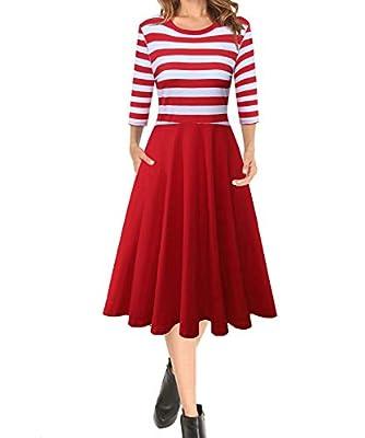 BIKATU Women's Casual Striped Dresses 3/4 Sleeve Crew Neck Pocket Midi Dress