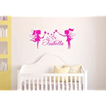 Housewares Wall Vinyl Decal Girl Nursery Room Personalized Name Two Little Fairies Home Art Decor Kids Nursery Removable Stylish Sticker Mural Unique Design for Any Room