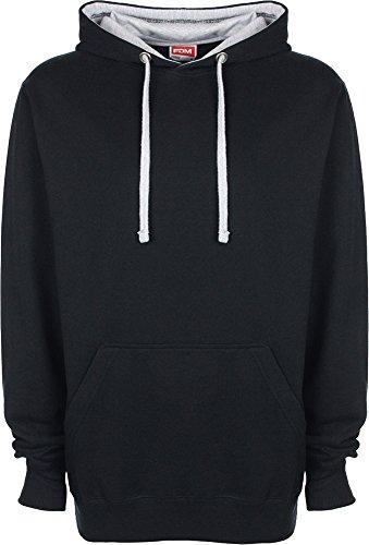 New FDM Unisex Contrast Hoodie Mens/Ladies Jacket Winter Warm Sweatshirt Hoody Royal/Empire Yelllow