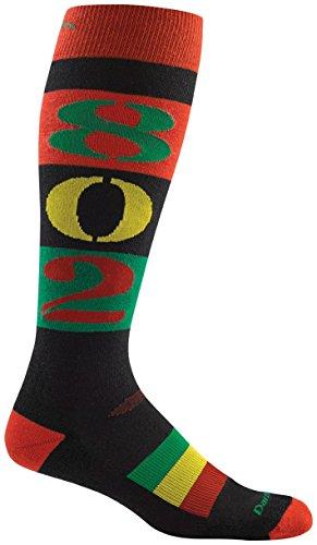 Rasta Ski (Darn Tough Merino Wool Ski 802 Over-the-Calf Cushion Sock - Men's Rasta)
