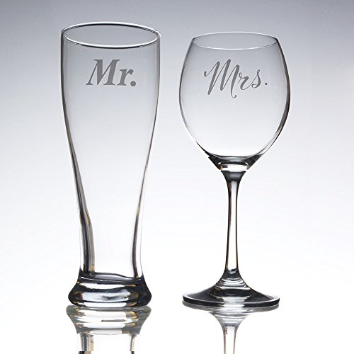 His 12oz pilsner glass and Her's 10oz wine glass for bridal showers, engagements, anniversaries, weddings, newlyweds and couples (Glasses Bridal)