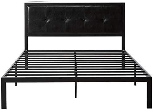 Zinus Cherie Faux Leather Classic Platform Bed Frame with Steel Support Slats, Queen 41Rg5f 2B2M 2BL