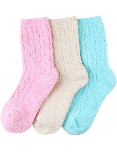 HASLRA Twist Premium Soft Warm Fine-Needle Microfiber Fuzzy Socks 3 Pairs (MIX1) by HASLRA (Image #1)